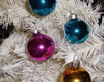 Vintage Christmas Glass Ornaments - Glass Balls, Pink, Gold and Two Turquoise