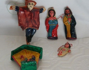 Vintage Ornaments / Christmas Nativity and Easter Ornaments from Peru