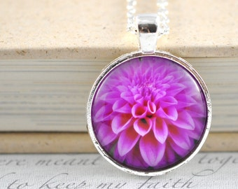 Dahlia Necklace / Pink Flower Necklace / Real flower Photo Pendant / Flower Jewelry / Spring Fall Flower