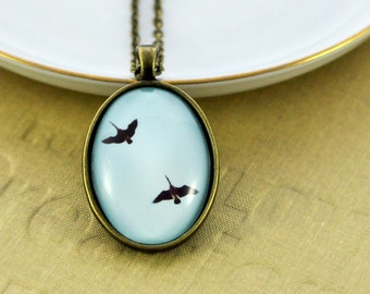 Geese Necklace - Glass Pendant Vintage Style - Light Blue and Gold Wearable Art - Canadian Goose - Bird Nature Jewellery