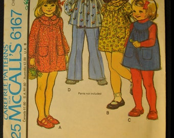 Dress or Jumper or Top Girl's Size 6 Vintage 1970s Sewing Pattern-McCall's 6167