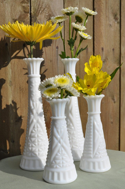Milk glass vintage vases set of four for wedding reception