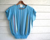 vintage 1980s pastel stripe top. light sweater with short sleeves. retro clothing.