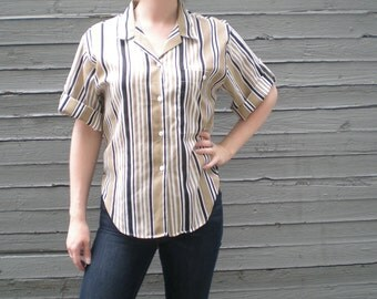 vintage 90s boxy cut shirt with vertical stripes. button up blouse. retro clothing.