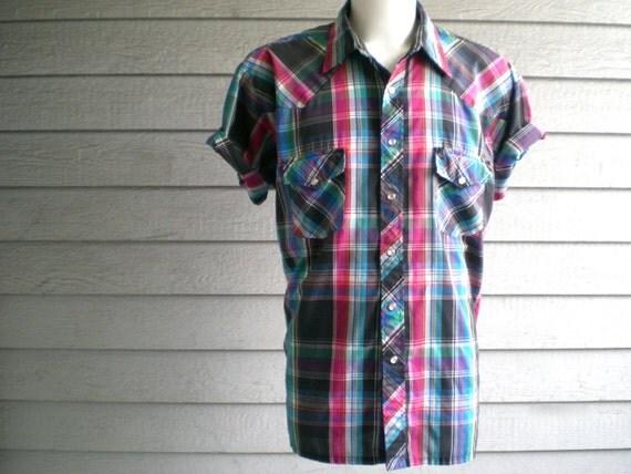 vintage 1980s men's neon plaid shirt. western style snap up shirt. size large - extra large.