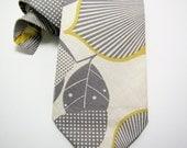 Men's Necktie - Mustard & Grey Trillium