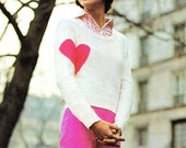 "Vintage 70's Knit ""Heart On Sleeve"" Sweater - PDF Pattern - INSTANT DOWNLOAD"