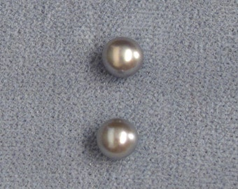 Matched Pair ~ Cultured Freshwater Pearls ~ 2 Loose Half-Drilled 6mm Round Natural Silvery-Blue Pearls