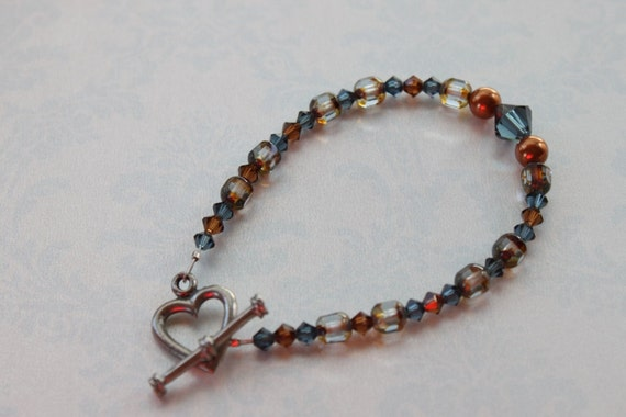 Blue & Brown Swarovski Crystal, Pearl, Czech Glass Bracelet, Accent Jewelry, Heart Toggle, Perfect with Denim Blue Jeans, Focal Beads, Love