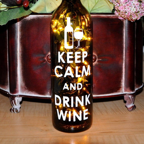 Wine Bottle Lights - Keep Calm and Drink Wine