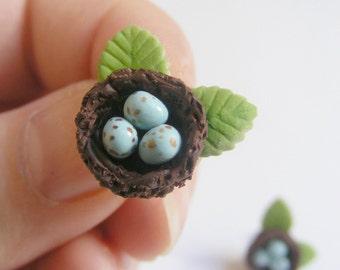 Birds Nest Earrings, Miniature Food Jewelry, Robins nest earrings, Food Jewelry, Kawaii Earrings, Nature Lover, Birds Nest Jewelry, Eggs