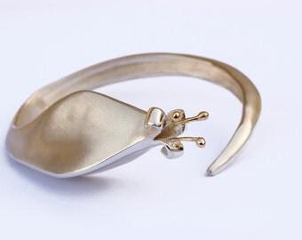 Sterling silver & 18k Gold Handmade Bracelet, Modern flower cuff,Statement bracelet,Art Nouveau Cuff