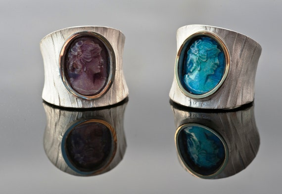 Steampunk  Blue or Purple Modern Cameo Unisex Rings -  Sterling silver,18k Gold
