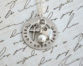 Ready to Ship Hand Stamped Faith Hope Love Silver Washer Style Necklace with charms