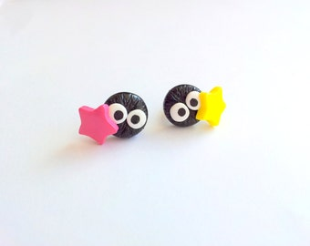 Soot Sprites with candy konpeito post earrings