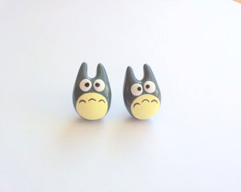 Grey Totoro post earrings