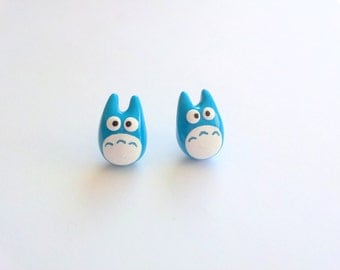 Blue Totoro Earrings, Studio Ghibli, Miyazaki, Anime, Japanese, My Neighbor Totoro, Movie, Cute, Movie, Polymer Clay, Fimo