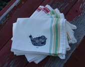 Dish Towel - Bird Hand Stamped