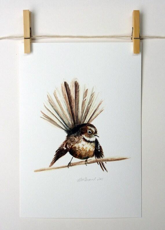Piwakawaka - a native New Zealand bird giclee print