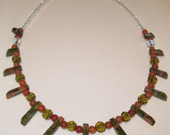 18 inch Genuine Unakite & Red Adventurine Necklace