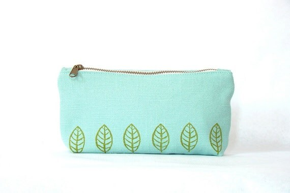 SALE - Cotton pouch, handprinted, metal zipper