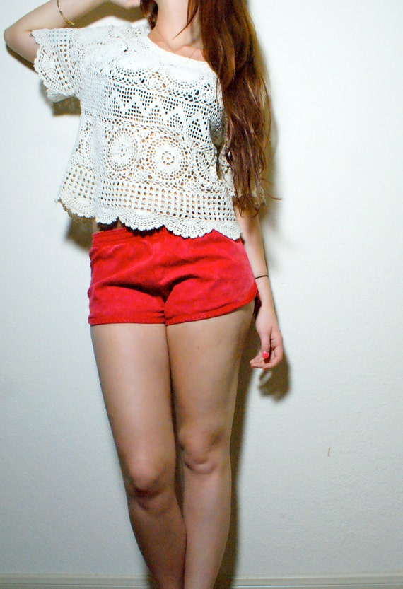Hipster Vintage Macrame Cropped Crochet Off White Crop Top Rasta Floral Lace Blouse