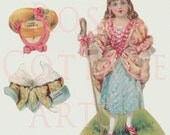 "Digital Download Antique Die Cut ""Little Bo Peep"" Paper Doll Victorian Scrap Graphic Images"