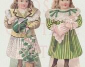 Digital Download Antique Die Cut Paper Dolls Victorian Scrap Graphic Images