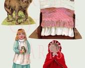 "Digital Download Antique Die Cut ""Little Red Riding Hood"" Paper Dolls Victorian Scrap Graphic Images"