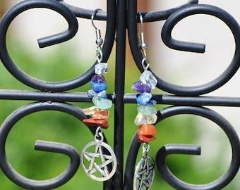 Pentacle Chakra Earrings