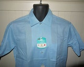Vintage 60s button up shirt / 1960s blue camp dress shirt / mad men office / NOS deadstock with tags  .... S M  // chest 44