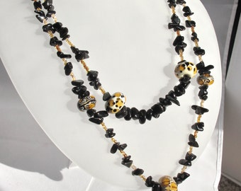 CLEARANCE - Casual Necklace of Animal Print Lampwork Glass Beads and Obsidian Chips