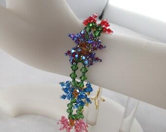 Crystal Flower Rainbow Bracelet