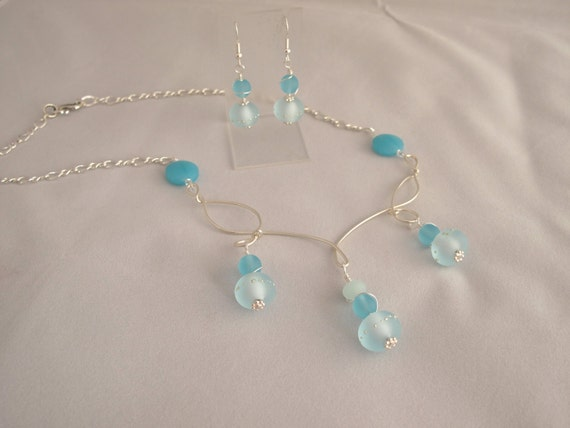 CLEARANCE - Sea Glass and  Sand Pebbles Necklace & Earring set in Ice Blue and Sterling Silver