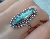 Vintage turquoise 925 Native American silver ring Southwest Navajo 1970s