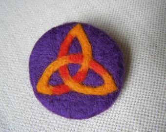Needlefelted Brooch, Felt, Celtic,Trinity, Knotwork, Circle, Round, Purple, Red & Orange.