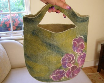 Felted Handbag, Pink Watercolour Flowers, spring summer garden party,