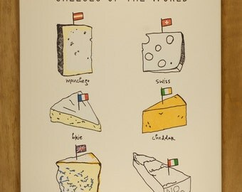 Cheeses of the World letterpress print