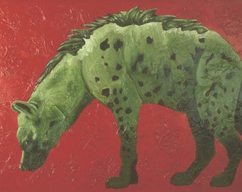Hyena Small Fine Art Painting Print Red Green Colorful Art