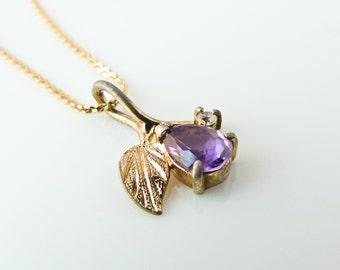 Sterling Silver Gilt Amethyst Flower Pendant Necklace