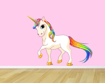Princess Rainbow Unicorn Reusable Fabric Wall Decal