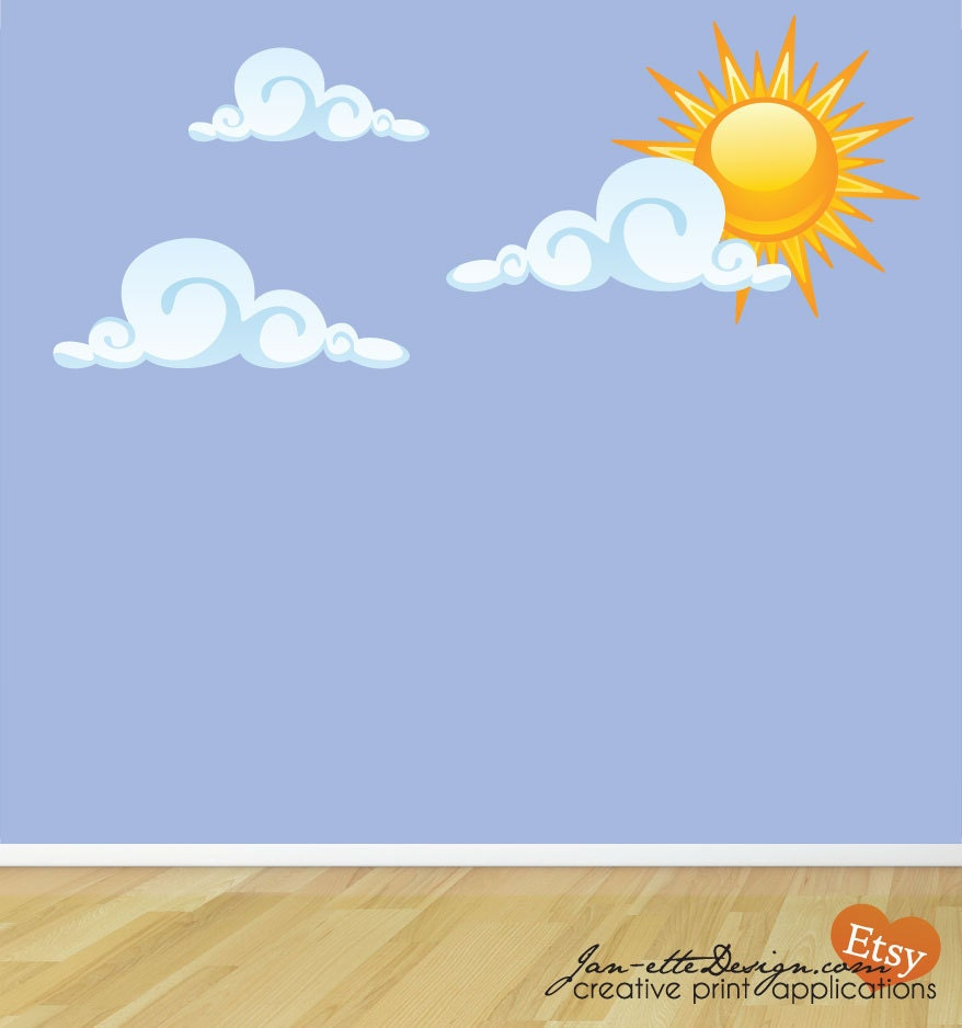 sun and clouds fabric wall decals cloud wall art kids wall zoom