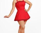 Red with Black Polka Dot Playsuit size XS-XL