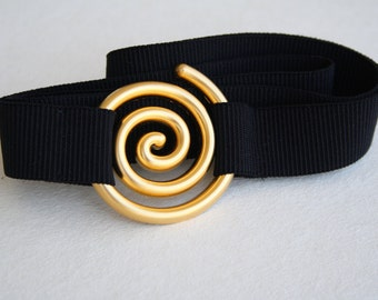 SALE, Gold and black waist belt, elastic belt, maternity belt, gold swirl buckle, black elastic belt, spiral gold buckle