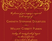 Printable Wedding Invitation - 5x7 - Bollywood Ornate - Formal Filigree Elegant Indian Personalized DIY - Red Gold Plum Silver Navy Yellow