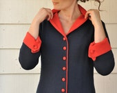 RESERVED for CLAIRE Vintage 1960s 60s Adorable Blue Red Wool Mini Dress Small Medium