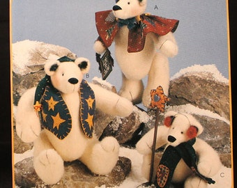 McCalls Snow Bearies Stuffed Bear Pattern No. 8389 for Charming Christmas Bears - Christmas Deocr Patterns with Accessory Patterns