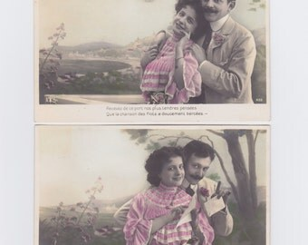 4 antique French postcards, vintage postcards, photograph, handtinted