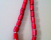 SALE  Red bamboo coral, silver, and pearl necklace made by artisans in China
