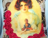 China Doll Face Pillow - Handcrafted with Rosettes and Budda Feng Shui Pin Up